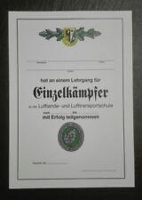 URKUNDE Einzelkämpfer Lehrgang,EKL 1 Bundeswehr,LL-LTS,Jagdkampf,Ranger Course