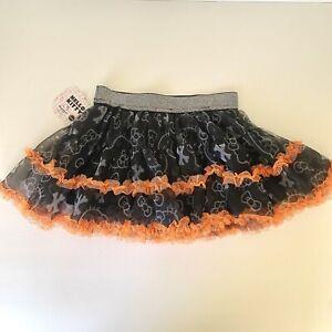 NEW Hello Kitty Sanrio Halloween Black Orange Toddler Girls TuTu Size 2T Skirt