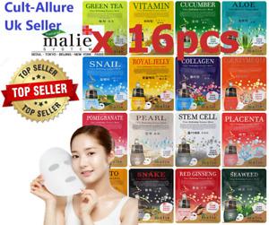 Malie Korean Face Mask Sheet Pack Facial Skin Care Moisture Essence 16pcs UK
