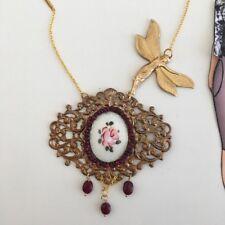 Collana Vintage Libellula rubini Smalto filigrana Fiore