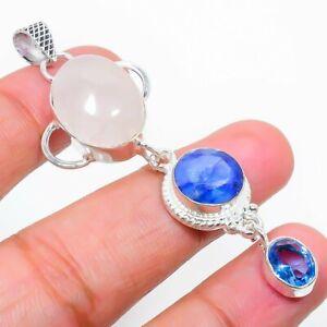 "Rose Quartz, Blue Topaz Ethnic Handmade Gemstone Gift Jewelry Pendant 2.56"" a151"