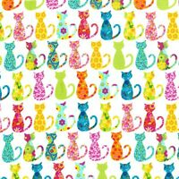 Michael Miller Calico Cat Fabric- bright- fun - kitty - floral - By the FQ