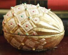 """Vintage Egg Trinket Box Resin? Gold Hand Painted Philippines 4.5"""" L Mid Century"""