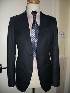 "Hackett Quality fabric Nailshead MAYFAIR Navy Suit Size UK 38L""EUR 48L""w32"