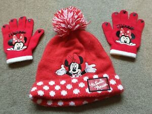 Girls Minnie Mouse hat scarf gloves set 3-6 years