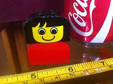 LEGO Black Haired Girl Mni Figure Old Red Top Classic Original