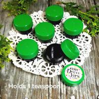 20 CUSTOM Mini BLACK JARS  Green Caps .25oz Container #3301  1/4oz USA DecoJars