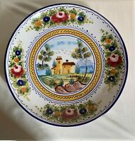 Deruta Italian vintage round serving platter with hand-painted farm in center.