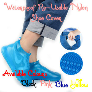 BLUE NYLON WATER PROOF, NON-SLIP & RE-USABLE SHOE COVER FOR CYCLING SHOES  LARGE