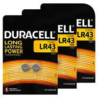 6 x Duracell Alkaline LR43 batteries 1.5V 186 V12GA AG12 1176A Coin Cell 2 Pack