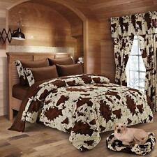 Queen size 7 pc Cream Chocolate Rodeo Cow comforter, sheets and pillowcase set