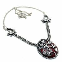"Red Jasper, White Topaz Gemstone Handmade Ethnic Gift Jewelry Necklace 18"" JH"