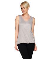 H by Halston Wrap Front Knit V-Neck Sleeveless Top Color Flint Grey Size Large