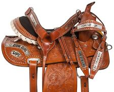 USED 14 15 16 SILVER LEATHER WESTERN BARREL RACING TRAIL SHOW HORSE SADDLE TACK