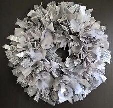 "Handmade 16"" Gray Grey White Ribbon Rag Fabric Wreath Nursery Girls Shabby Chic"