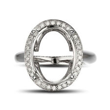 14k White Gold Hold 9x13mm Oval Cut Vintage Pave Halo Diamond Semi Mount Ring