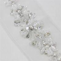 1 Pc Crystal Rhinestone Applique Sewing Wedding Bridal Belt Sash Dress Craft DIY