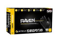 SAS Safety 66518 Raven Powder-Free Disposable Black Nitrile 6 Mil Gloves, Large
