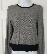 RALPH LAUREN, M, UK 10,Cotton Blend Black & White Herringbone Jumper, Zip Detail