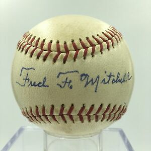 Fred Mitchell Relieved Cy Young In First Ever Red Sox Game Signed Baseball PSA