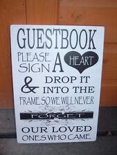 Tabella Matrimonio Libro Degli Ospiti Firmare un cuore a goccia in Cornice Shabby Chic Vintage Placca
