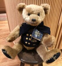 Harrods 2000 Millennium Teddy Bear With Navy Vest And Brass Buttons Original Tag