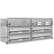 4er Premium Unterputz Briefkasten mit Klingel 4 Fach V2A Postkasten Anlage A4