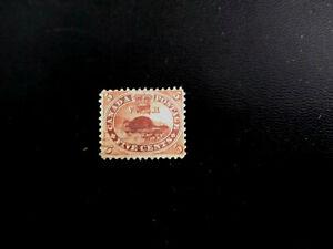 Canada stamps no.15 beaver  horizontal line cancel.