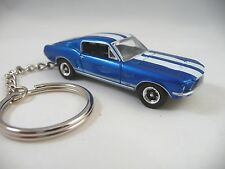 1967 Ford Mustang GT KeyChain Bright Blue White Stripes '67 Mustang Key Chain
