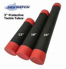 MDI 3 inch Black Plastic Fishing Float/Tackle Tubes Various Length with End Caps