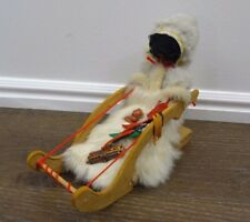 Vintage Eskimo Doll real fur leather sleigh baby