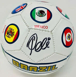 Pele Signed Brazil Soccer Ball Autographed Country Flags - PSA/DNA ITP COA