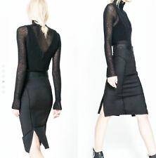 ZARA Black Stretch Pencil Office Formal Elegant With Leather Waist Skirt M