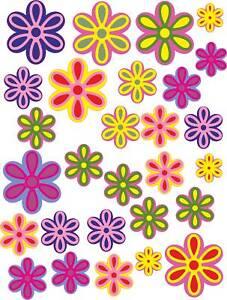 28 groovy colour printed flower waterproof stickers , car  camper vw funky hippy