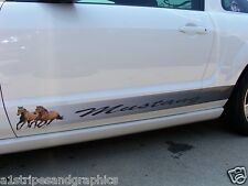 FULL COLOR YOUR TEXT Mustang Pony Running Side Stripes Decals Graphics Stripe