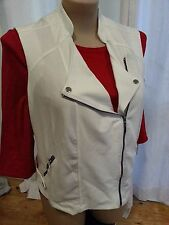 Crossroads IVORY WHITE cross front lots of ZIP pockets cardigan cardi VEST 14
