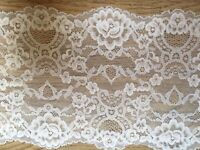 "7"" / 18 cm Stunning Bright White Stretch Galloon Lace Trim x 3 Metres"