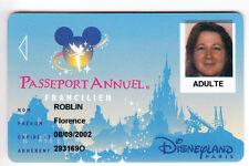 DISNEY PARIS PASS CARTE / CARD .. PASSEPORT ANNUEL IDF + NOM SPEOS 2001/02 00/05