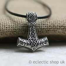 NEW Viking Thor's Thors Hammer Celtic Knot Wolf Mjolnir Pendant Necklace UK  a1
