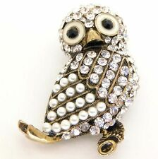 New Gold Tone Crystal Pearl Owl Bird Brooch in Gift Box