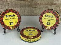 Vintage Set of Three Scotch Electrical Tape No. 33 Tins
