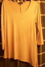 Slinky Brand Tunic Tan Uneven Asymmetrical 3/4 Sleeve Side Slit Jersey Sz Medium