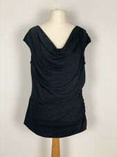 RONNI NICOLE UKXL Black Sparkly Top Cowl Neck Draped Ruched Side Party Cocktail