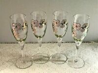 Vintage Perrier Jouet Hand Painted Fluted Champagne Glasses Set of 4