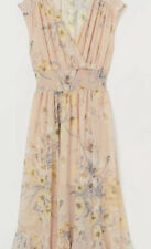 NWOT H&M Conscious Collection Beige w/ Yellow Floral Maxi Midi Dress US 6
