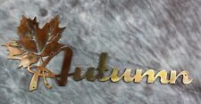"""Autumn Leaf Metal Wall Art Sign Large approx 30"""" wide by 12"""" tall"""