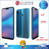 "Huawei P20 Lite 64GB 5.8"" 16MP Unlocked 4G LTE Android Smartphone Blue ANE-LX1"