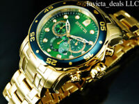 Invicta Men's 48mm PRO DIVER Scuba Chronograph Green Dial 18K Gold Plated Watch
