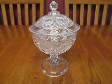 Gorgeous EAPG Antique New Martinsville Diamond Point Discs Glass Covered Compote