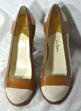 Women's Ivory Linen and Brown Leather COLE HAAN Heels 7B